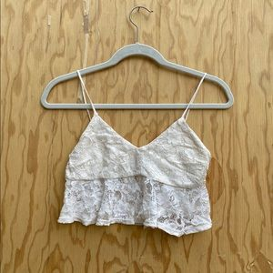 LF lace cream crop top